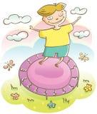 Chłopiec i trampoline Obrazy Royalty Free