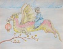 Chłopiec jazda na smoku, nowy rok Fotografia Royalty Free