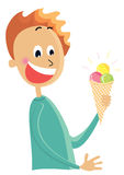 Chłopiec je lodu cream.vector koloru kreskówek isol ilustracji