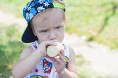 Chłopiec je lody, dziecko je lody w parku Fotografia Royalty Free