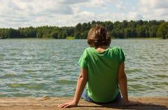 chłopiec jezioro Obraz Royalty Free