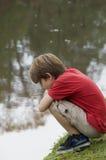 chłopiec jezioro Obrazy Royalty Free