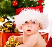 chłopiec kapelusz Santa Zdjęcia Royalty Free