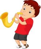 Chłopiec kursowania saksofon Zdjęcia Royalty Free