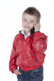 chłopiec na telefonie Obraz Stock