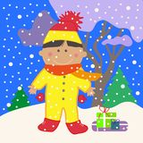 Chłopiec na zimy tle ilustracji