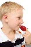 chłopiec owoc obrazy stock