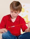 chłopiec paintbrush obrazy stock