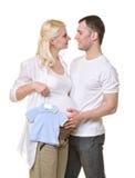 chłopiec pary oczekiwanie Fotografia Royalty Free