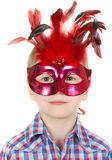 chłopiec piórek maski maskarada Zdjęcie Stock
