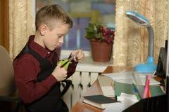 Chłopiec pracuje w jego biurze na osobistym komputerze Ciie Fotografia Stock