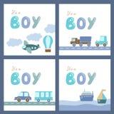 Chłopiec prysznic karty Fotografia Royalty Free