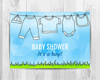 Chłopiec prysznic zaproszenia karta Zdjęcie Stock