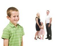 chłopiec rodziny przód jego potomstwa Obrazy Stock