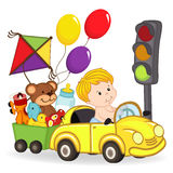 Chłopiec samochodem z zabawkami royalty ilustracja