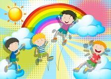 Chłopiec skacze up w niebie Obraz Royalty Free