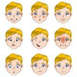 Chłopiec twarzy emocj kreskówka Zdjęcie Royalty Free