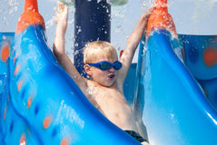Chłopiec w aquapark Obraz Stock
