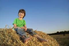 Chłopiec w haystack w polu Zdjęcia Stock