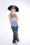 Chłopiec w pirata kostiumu na bielu Fotografia Stock