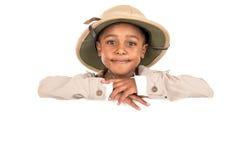 Chłopiec w safari odziewa Zdjęcia Stock