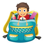 Chłopiec w torbie Fotografia Stock