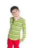 Chłopiec w zielonej pasiastej koszula Obraz Stock