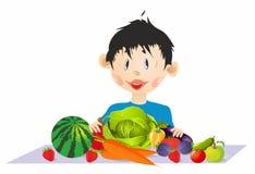 Chłopiec, warzywa i owoc royalty ilustracja