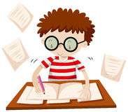 Chłopiec writing na stole Zdjęcie Stock