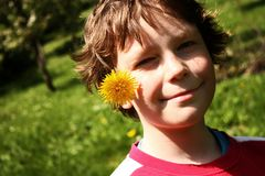 Chłopiec z dandelion Obrazy Royalty Free