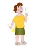 Chłopiec z dandelions Zdjęcie Royalty Free