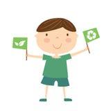 Chłopiec z eco flaga Fotografia Royalty Free