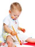 Chłopiec z painbrush Fotografia Royalty Free