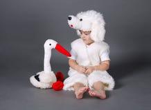 Chłopiec z psim kostiumem Obrazy Stock
