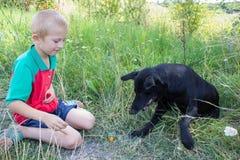 Chłopiec z psim obsiadaniem Zdjęcia Stock