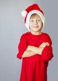 Chłopiec z Santa kapeluszem Obraz Stock