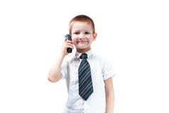 Chłopiec z telefonem Zdjęcie Royalty Free