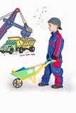 Chłopiec z wheelbarrow Zdjęcia Stock
