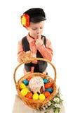 Chłopiec z Wielkanocnymi jajkami i wakacje zasychamy zdjęcie stock
