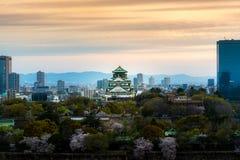 Ch?teau d'Osaka avec les fleurs de cerisier et le district des affaires de centre ? l'arri?re-plan ? Osaka, Japon photo libre de droits