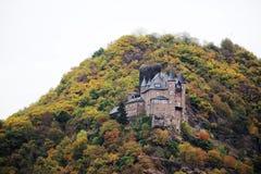 Ch?teau de Katz dans Goarhausen, vue de Sankt Goar, Allemagne photos libres de droits