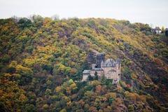 Ch?teau de Katz dans Goarhausen, vue de Sankt Goar, Allemagne photographie stock