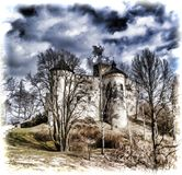 Ch?teau de Niedzica en Pologne du sud photographie stock libre de droits