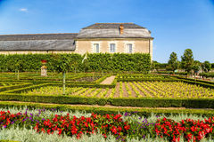 Château de Villandry, France. One of the buildings of the castle and the ornamental garden Stock Images
