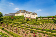 Château de Villandry, France. View of one of the buildings of the castle and flower garden Stock Images