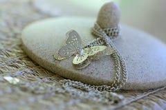 Chaîne argentée de papillon Image libre de droits
