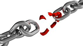 Chaîne avec l'élément rouge cassé illustration de vecteur