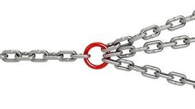 chaîne avec le lien central rouge, fond blanc Photographie stock libre de droits