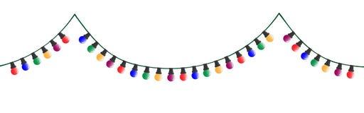 Chaîne colorée décorative de Noël avec des ampoules illustration stock