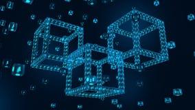 Chaîne de bloc Crypto devise Concept de Blockchain bloc 3D numérique isométrique avec le code numérique Cryptocurrency Editable illustration de vecteur